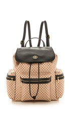 Tory Burch Kerrington Flap Backpack Blush Champagne Dot