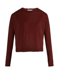 Helmut Lang Raw Edge Cashmere Sweater Burgundy