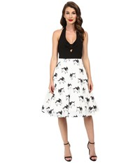 Unique Vintage Boston Terrier Halter Swing Dress White Black Print Women's Dress