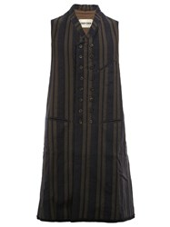 Ziggy Chen Double Striped Long Waistcoat Black
