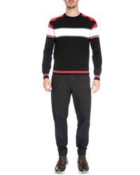 Givenchy Intarsia Colorblock Long Sleeve Sweater Black Red