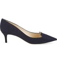 Jimmy Choo Allure 50 Flannel Pointed Toe Courts Navy