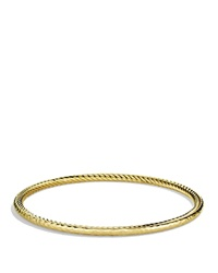 David Yurman Cable Classics Hammered Bangle In Gold Yellow Gold