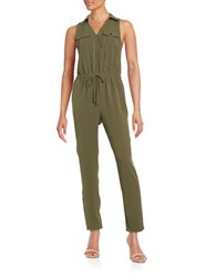 Design Lab Lord And Taylor Collared Drawstring Jumpsuit Olive
