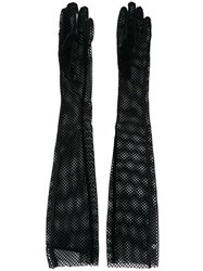 Maison Martin Margiela Mm6 Long Mesh Gloves Black