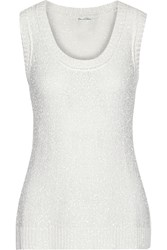 Oscar De La Renta Sequined Silk Blend Tank White