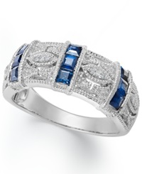 Macy's Sapphire 3 4 Ct. T.W. And Diamond Accent Band In Sterling Silver Blue