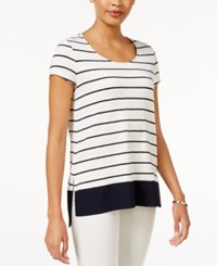 Maison Jules Striped Border T Shirt Only At Macy's Washed White Combo