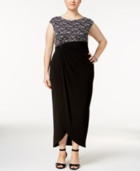 Connected Plus Size Sequined Lace Faux Wrap Gown Black Silver