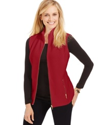 Karen Scott Mini Quilted Zip Front Vest New Red Amore