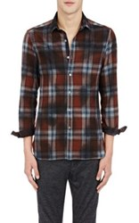 Lanvin Men's Plaid Shirt Brown Blue No Color Brown Blue No Color