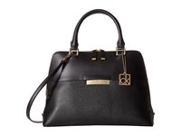Calvin Klein Rowan Pebble Satchel Black Gold Satchel Handbags