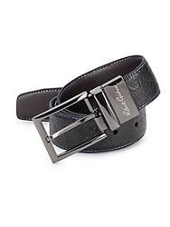 Robert Graham Garrison Paisley Embossed Leather Belt Black