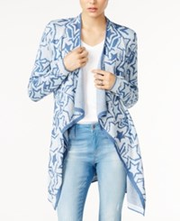 Tommy Hilfiger Printed Waterfall Cardigan Only At Macy's Light Blue Combo