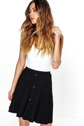 Boohoo Button Front Jersey Skater Skirt Black