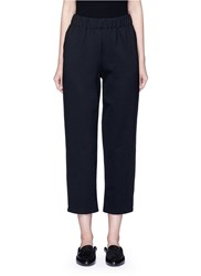 The Row 'Leanne' Elastic Waist Scuba Jersey Cropped Pants Black