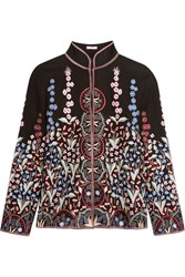 Vilshenko Annie Embroidered Wool And Cashmere Blend Jacket Black