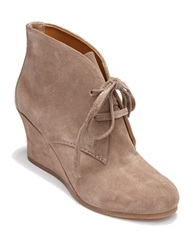 Dolce Vita Pellie Suede Laced Wedge Booties Taupe