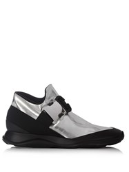 Christopher Kane Safety Buckle High Top Trainers Silver Multi