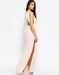 Asos Clean T Shirt Maxi With Fringe Back Nude