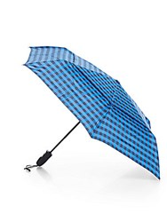 Shedrain Check Print Auto Open Folding Umbrella Norma Blue