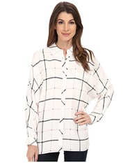 Vince Camuto Long Sleeve Grid Plaid Relaxed Utility Shirt Ruby Pink Women's Long Sleeve Button Up