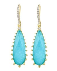 Frederic Sage Tivoli Teardrop Turquoise And Diamond Earrings