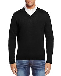 Bloomingdale's The Men's Store At Merino Wool V Neck Sweater Black