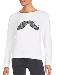 Wildfox Couture Long Sleeve Mustache Top Clean White