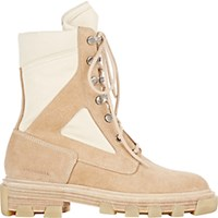 Balenciaga Women's Suede And Canvas Boots Beige
