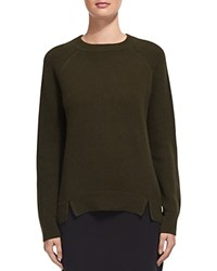 Whistles Notched Hem Cashmere Sweater Khaki