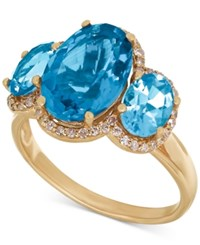 Macy's Blue Topaz 6 Ct. T.W. And Diamond 1 5 Ct. T.W. Three Stone Ring In 14K Gold