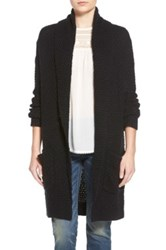 Hinge Marled Long Open Front Cardigan Black
