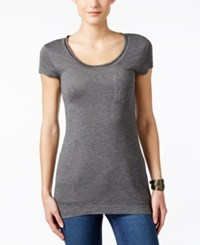 Calvin Klein Jeans Embellished Scoop Neck T Shirt Coldstone Heather