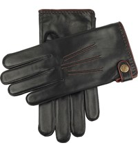 Dents Salisbury Lambswool Lined Leather Gloves Black English Tan