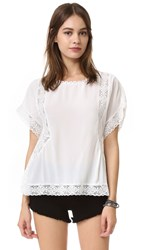Bb Dakota Arlene Lace Trim Top Ivory