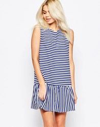 The Whitepepper Open Back Peplum Stripe Dress Blue Stripe