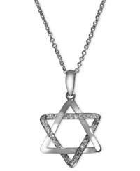 Effy Collection Effy Diamond Diamond Star Of David Necklace 1 8 Ct. T.W. In 14K White Gold