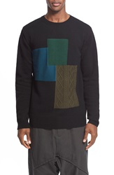 Yohji Yamamoto Pieced Patchwork Wool Sweater Black