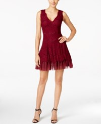 Betsy And Adam Lace Overlay Tulle A Line Dress Merlot