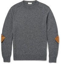 Saint Laurent Elbow Patch Cashmere Sweater Gray