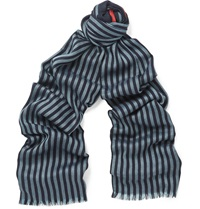 Striped Wool And Silk Blend Scarf Blue