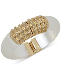 Inc International Concepts M. Haskell For Gold Tone Resin And Pave Hinged Bangle Bracelet Only At Macy's White