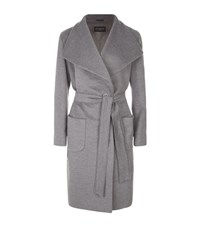 Harrods Of London Wool Angora Wrap Coat Female Grey