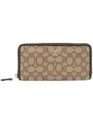 Coach Zipped Elongated Wallet Nude And Neutrals