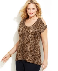 Michael Michael Kors Plus Size Cold Shoulder Animal Print Top Toffee Leopard