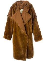 Jc De Castelbajac Vintage Faux Fur Oversized Coat Brown