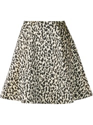 Bouchra Jarrar Animal Print Full Skirt Black
