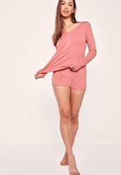 Missguided Ribbed Long Sleeve Pyjama Set Pink