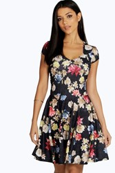 Boohoo Floral Print Sweetheart Skater Dress Multi